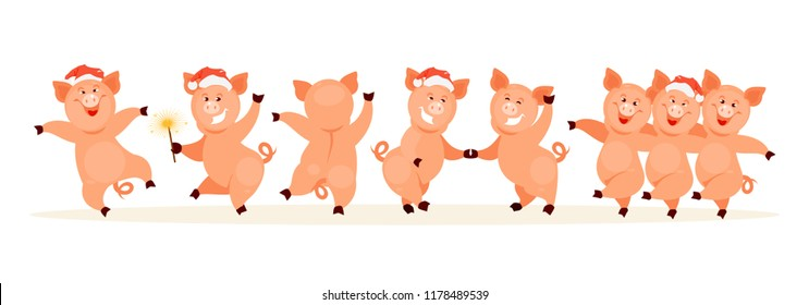 Dancing Christmas pigs. Pig symbol of the new year. Characters for postcards, printing, banners. Vector illustration