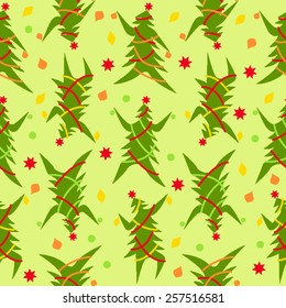 Dancing Christmas Trees seamless pattern