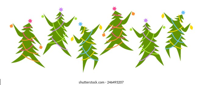 Dancing Christmas trees in traditional colours