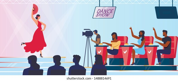 Dancing Competition Shooting Vector Illustration. Spanish Dancer, Judges and Cameraman Cartoon Characters. Young Woman Performing Flamenco, Passionate Artistic Number with Fan. Entertainment Show