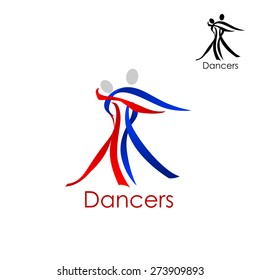 Dancing couple abstract logo or emblem template with man and woman silhouettes composed of red and blue ribbons