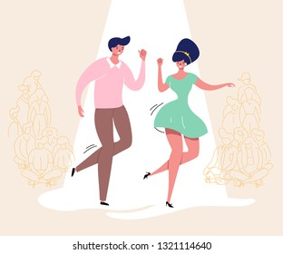 Dancing couple with audience. Rockabilly dance party. Happy swing dancers with viewers vector illustration isolated