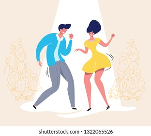 Dancing couple with audience. Rockabilly retro dance party. Happy swing dancers with viewers vector illustration isolated