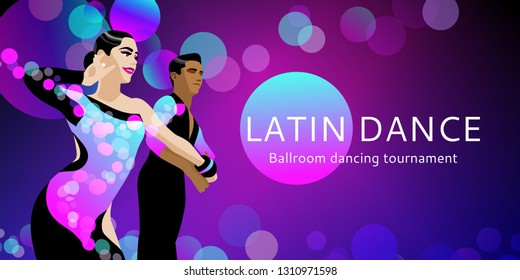Dancing couple. Ballroom dancing. Banner or flayer template. Latin program. Salsa, tango, rumba. Dancers: man and woman. Vector illustration.