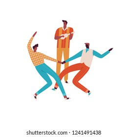 Dancing couple and the guitar player musician in 50s retro style illustration in vector.