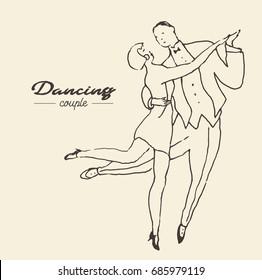 Dancing couple, hand drawn vector illustration, sketch