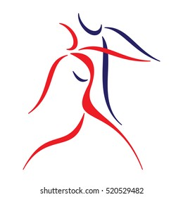 Dancing couple icon. Dance school vector logo