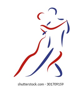 Dancing couple logo. Argentine tango. Tango dancers vector illustration.