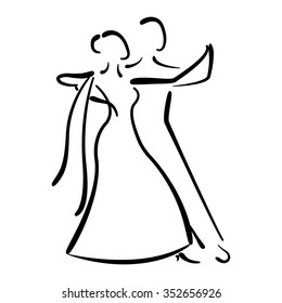 Dancing couple logo isolated on white background. Waltz dancers silhouette. Ballroom dancers vector illustration.