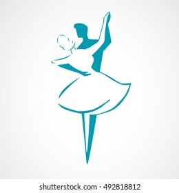Dancing couple logo isolated on white background. Waltz dancers silhouette. Vector illustration.