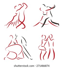Dancing couple logo set isolated on white background. Tango, waltz, salsa. Vector dancing couple illustration set.