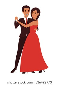 Dancing couple man and woman. Flat design vector illustration.