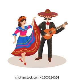 Dancing couple in mexican folk costumes; national holiday, folk style. Mexico, dance, costumes, sombrero, guitar, music festival. Flat style, concept, banner, postcard, vector illustration.