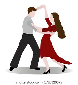 Dancing couple of people isolated on a white background. Vector illustration of an elegant couple of ballroom or latin american dancers