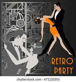 Dancing couple: Retro party invitation design template. Vector illustration.