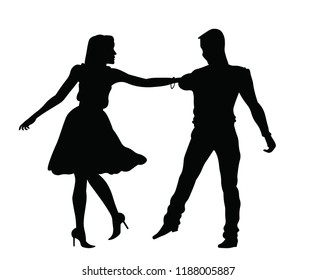 Dancing couple silhoette
