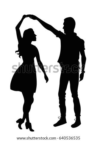 dancing couple silhouette stock vector royalty free 640536535