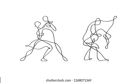 dancing couple silhouette vector drawing