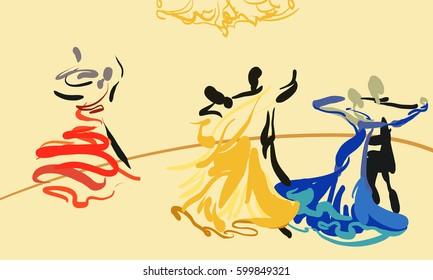 Dancing couples in ballroom. Sketch. Vector. Dance. Sport. Waltz.