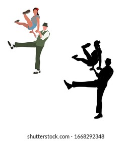 Dancing couples silhouettes on white background. People in 1940s or 1950s style. Men and women on swing, jazz, lindy hop or boogie woogie party. Vector illustration isolated .