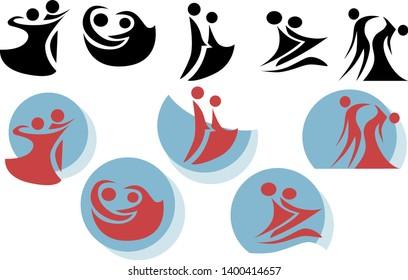 dancing couples. Waltz icons. Minimalistic vector illustration