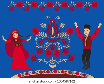 Dancing Crimean Tatar couple and the pomegranate Tree of Life on a blue background. Concept wedding card with a wish for wealth and many children.