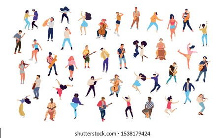 Dancing crowd people flat illustration - Vector
