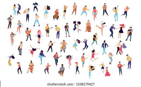 Dancing crowd people flat illustration - Vector