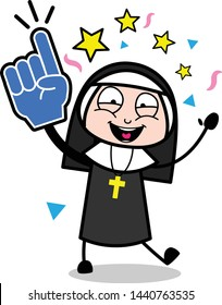 Dancing and Enjoying - Cartoon Nun Lady Vector Illustration