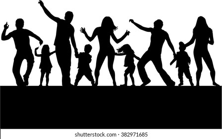 Dancing family silhouettes.