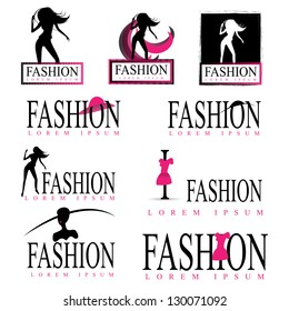 Dancing Fashion Woman Silhouette Isolated On White Background Set - Vector Illustration, Graphic Design Editable For Your Design. Logo Symbol