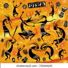 Dancing figures in a primitive style