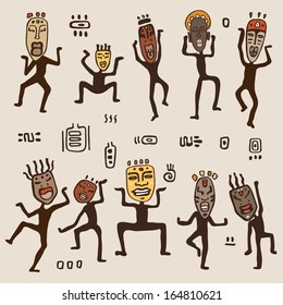 Dancing figures wearing African masks.  Primitive art. Vector illustration.