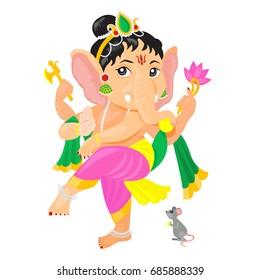 Dancing Ganesha holding axe,loop and lotus flower. Greeting card for Ganesh Chaturthi