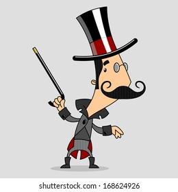 dancing gentleman in top hat and cane