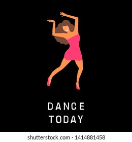 Dancing girl as a card background. Happy dancing bright colored adult woman for design for a modern pop party invitation, birthday greeting card, fashion shop sale advertising, bag print, holiday wallpaper etc.