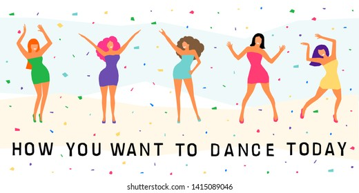 Dancing Girl Card Background Happy Bright Adult Woman For Design Modern Pop Party Invitation