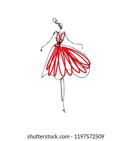 Dancing girl in red dress. Fashion model hand drawn sketch, stylized ink and watercolor silhouette isolated on white background. Vector illustration