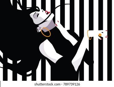 The dancing girl in style pop art. Vector illustration