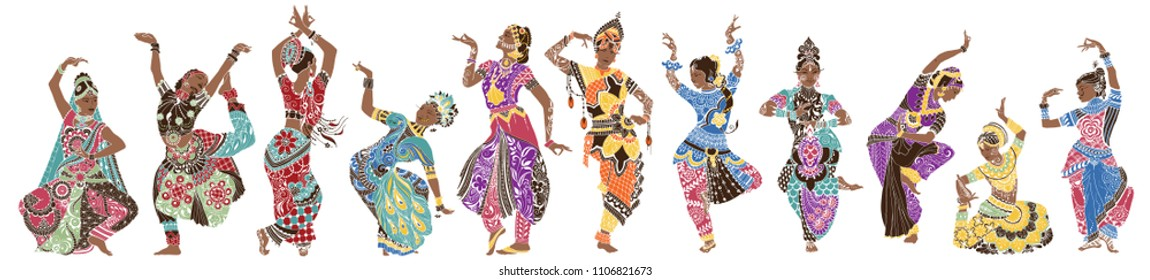 Dancing girls in bright oriental costumes