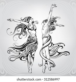 Dancing girls in a couple