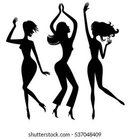 Dancing girls. Dance party.Silhouette.