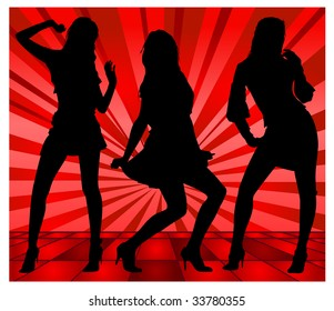 Dancing girls, silhouette on red background, vector illustration