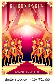 Dancing girls in variety show at a party in the style of the early 20th century. Retro party invitation card. Handmade drawing vector illustration. Art Deco style.