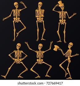 Dancing golden Skeletons