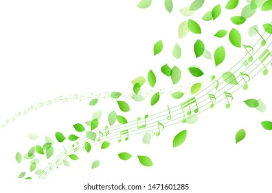 Dancing green leaves and music notes and Stave