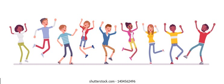 Dancing group of happy people. Friends, young smiling people, teenager boys, girls together, adolescent unity. Vector flat style cartoon illustration isolated, white background, full length portrait
