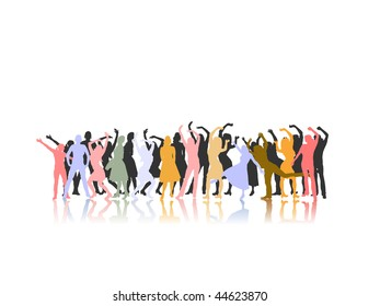 dancing women´s group silhouettes - vector