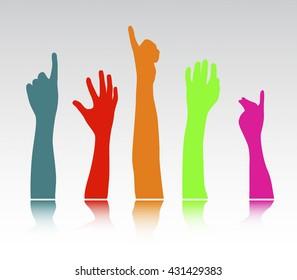 Dancing hands crowd vector
