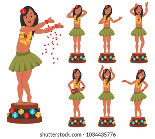 Dancing Hawaiian doll for car. Vector cartoon character set of hula bobble girl with flower lei isolated on white background. Flat icons collection.